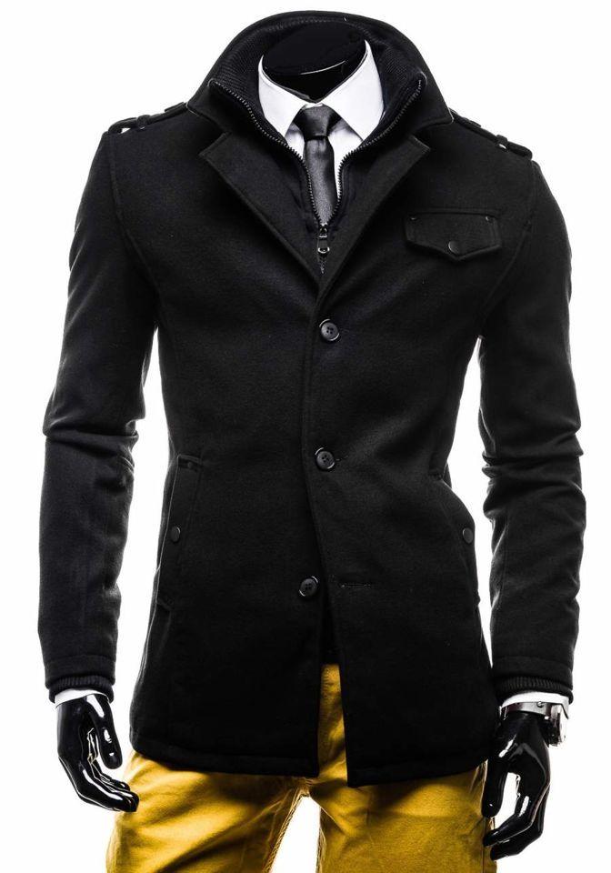 Čierny jednoradový pánsky kabát s vysokým golierom Bolf 8853E