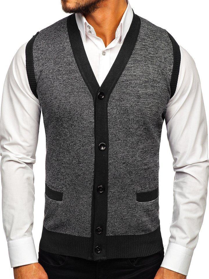 Čierna pánska pletená vesta Bolf 8133