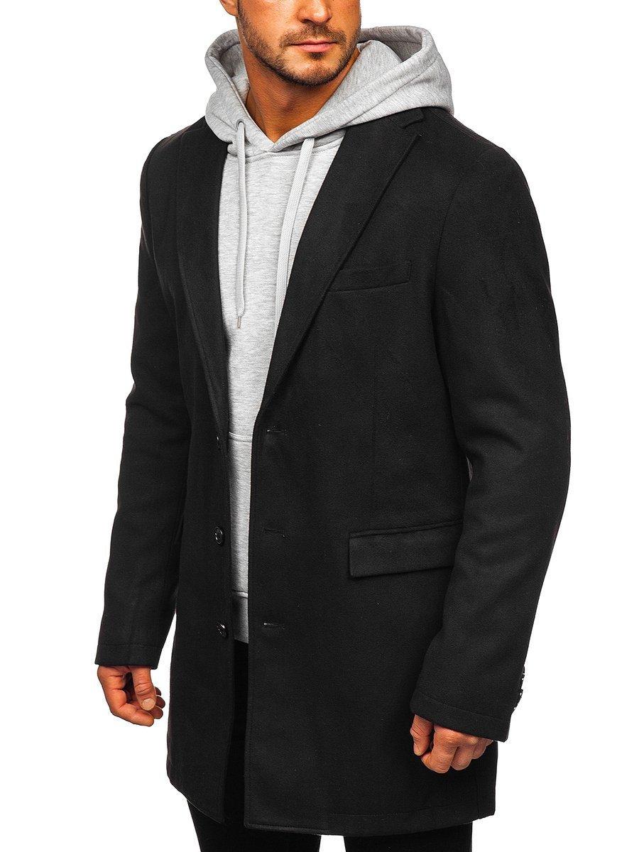 Čierny pánsky zimný kabát Bolf 1047C
