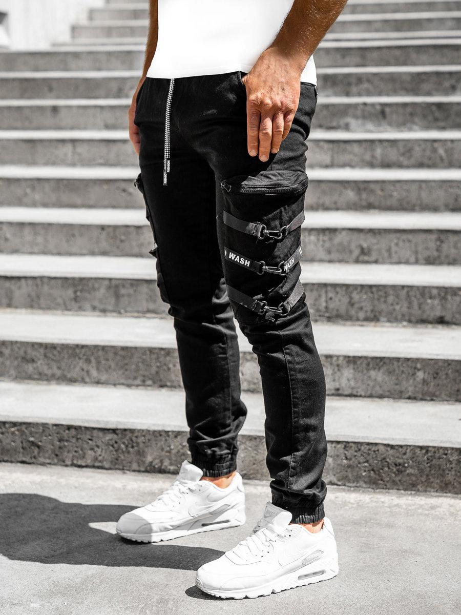 Čierne pánske kapsáčové jogger nohavice Bolf KA2101-13P