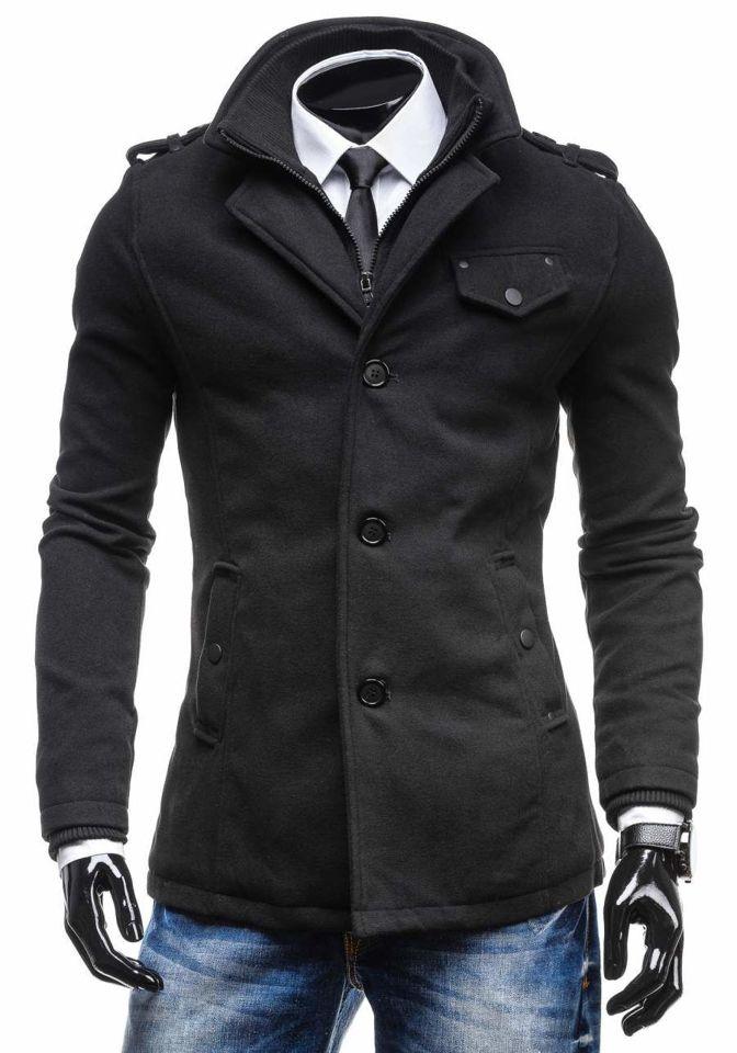 Pánsky čierny jednoradový kabát s vysokým golierom Bolf 8853C
