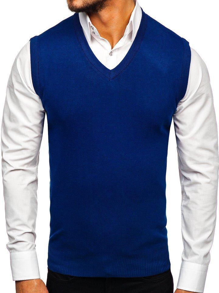 Modrá pánska pletená vesta Bolf H1939