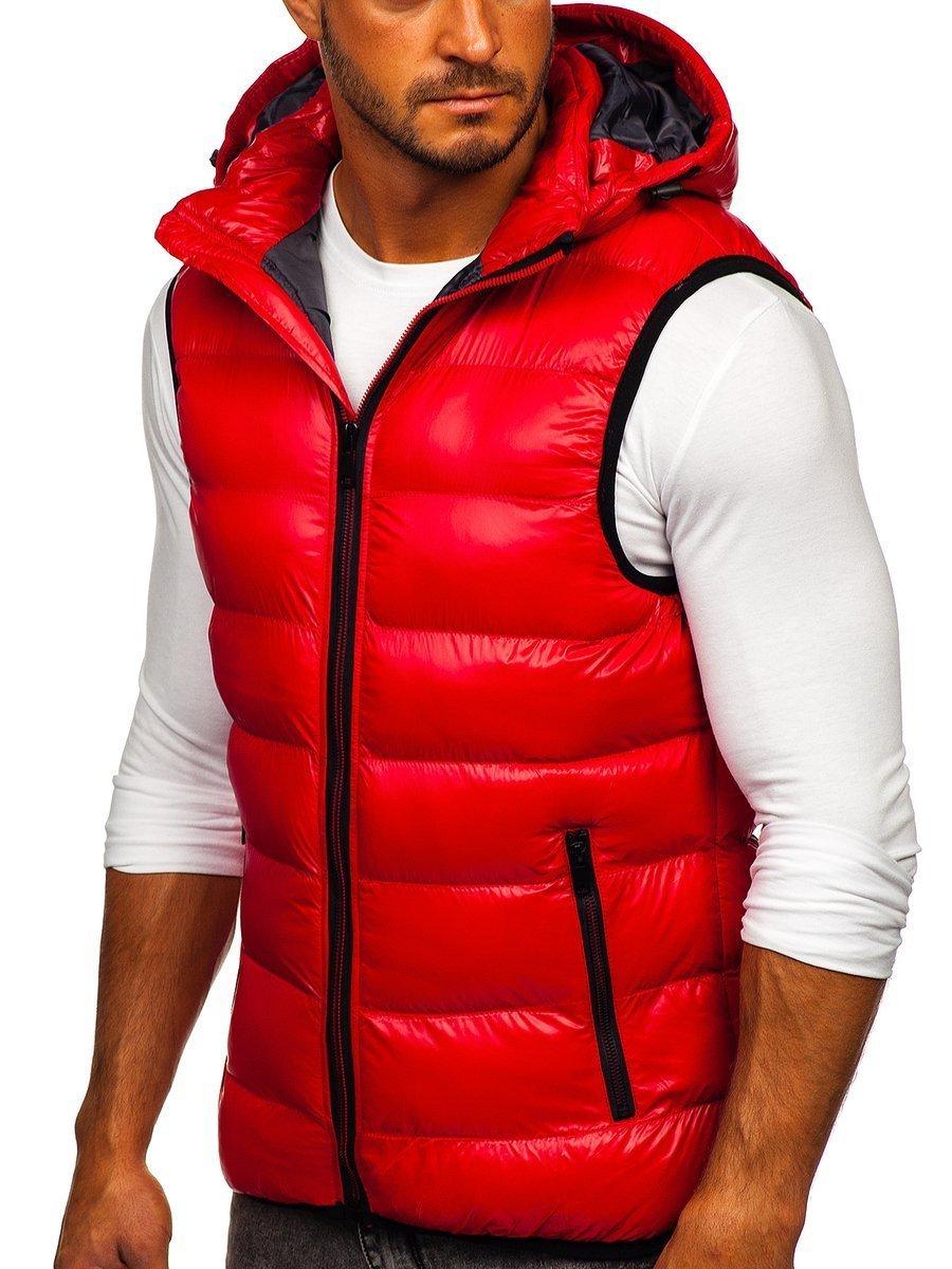 Červená pánska prešívaná vesta s kapucňou Bolf6506