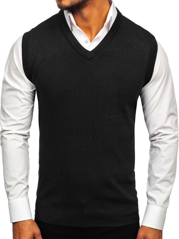 Čierna pánska pletená vesta Bolf W01