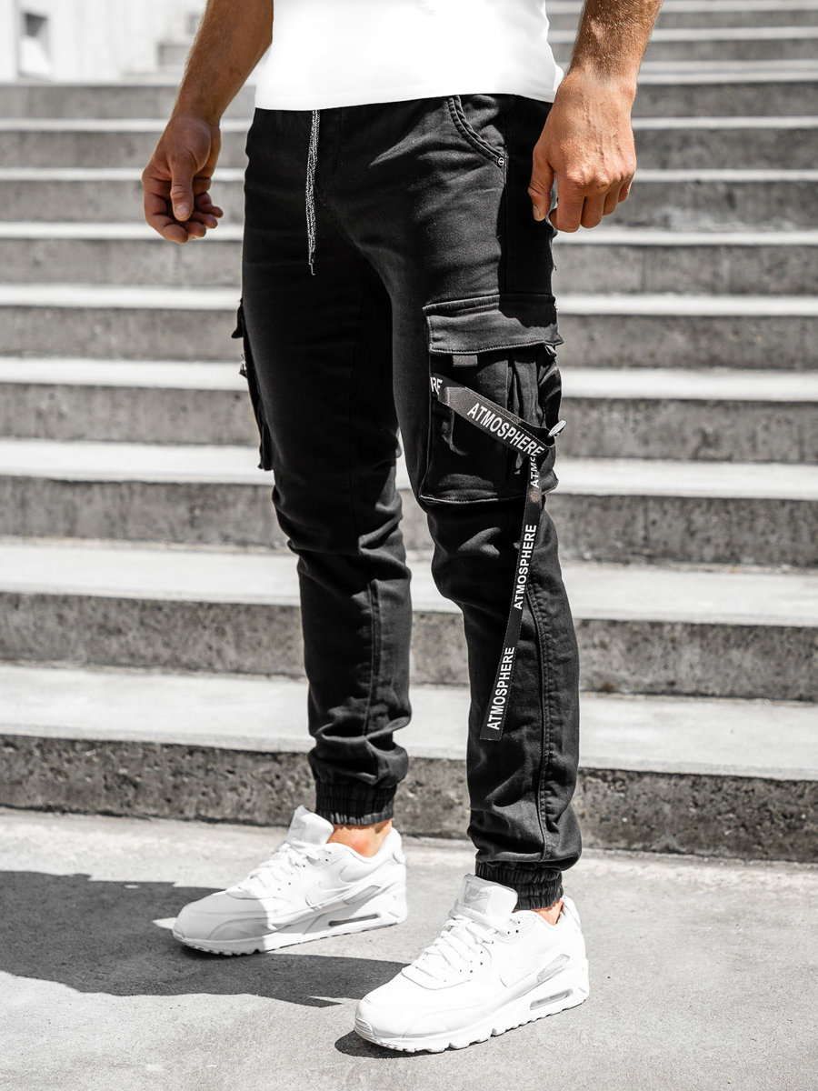 Čierne pánske kapsáčové jogger nohavice Bolf KA1056-13