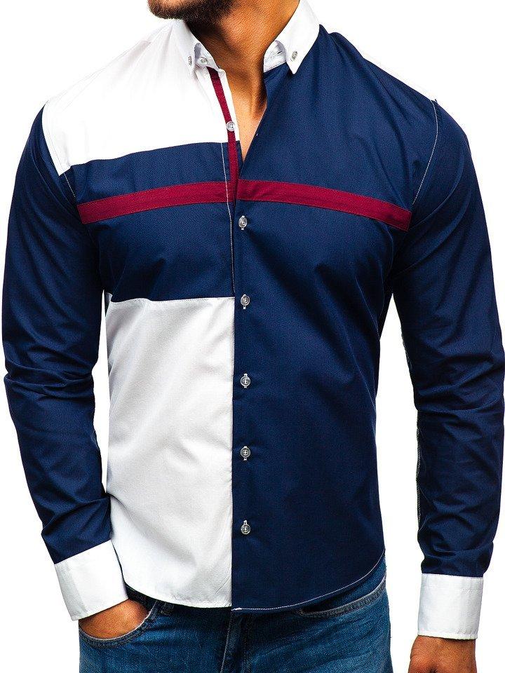 Tmavomodrá pánska vzorovaná košeľa s dlhými rukávmi BOLF 5729-A