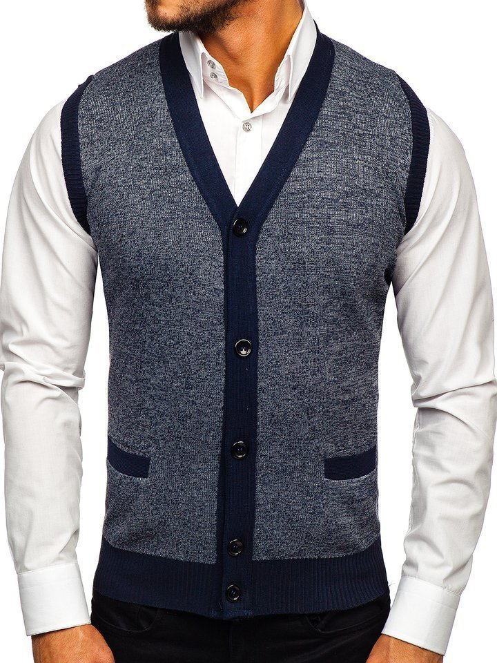 Tmavomodrá pánska pletená vesta Bolf 8133