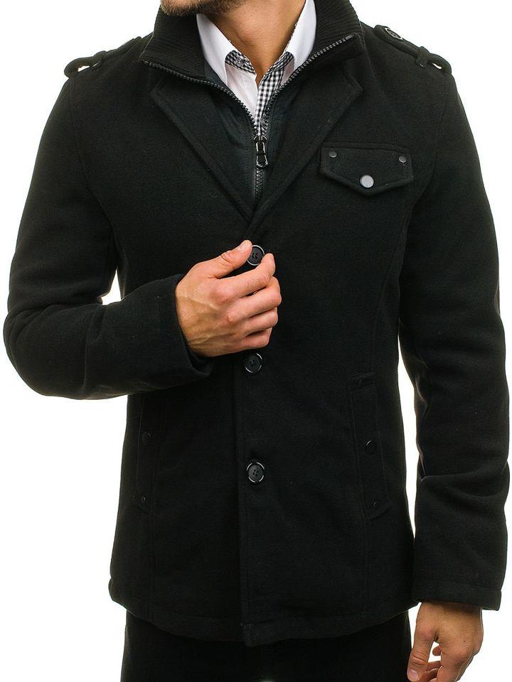 Pánsky čierny jednoradový kabát s vysokým golierom Bolf 8853A