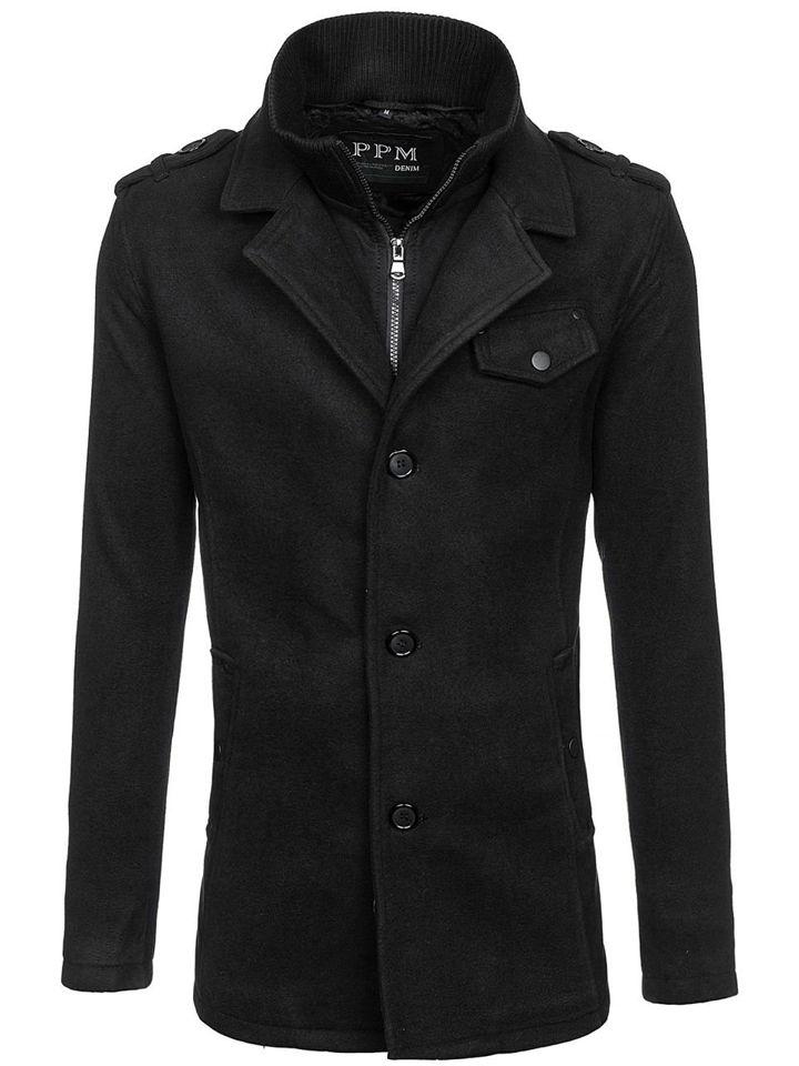 Čierny jednoradový pánsky kabát s vysokým golierom Bolf 8853F