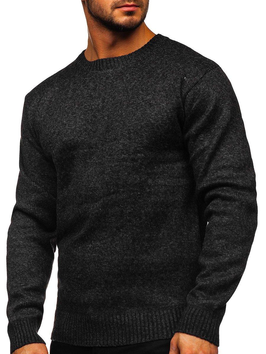 Čierny pánsky zateplený sveter Bolf 7M117