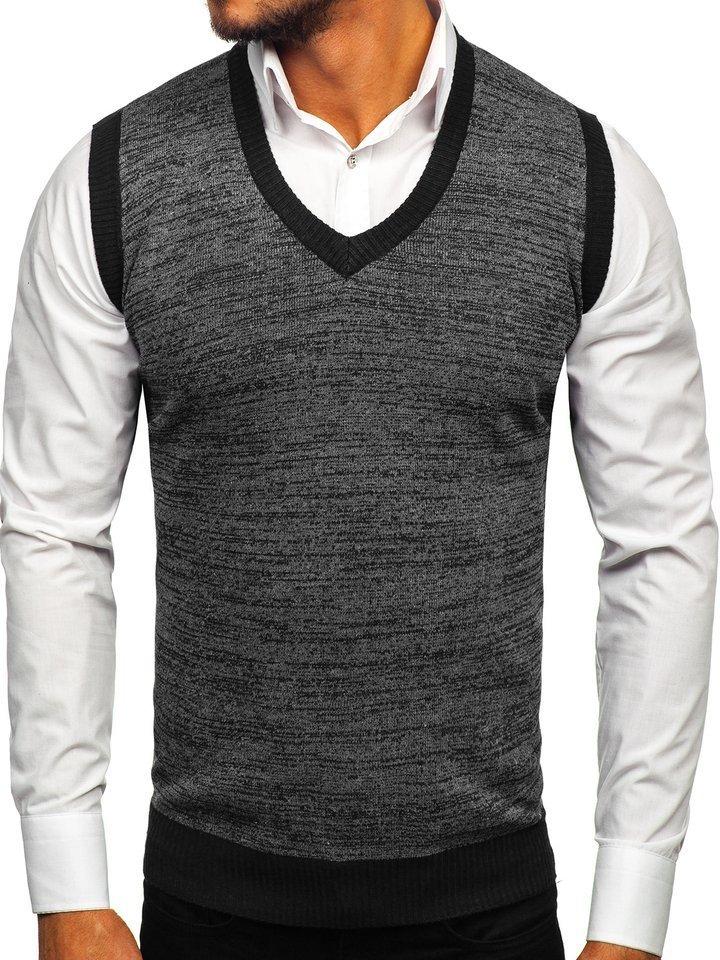 Čierna pánska pletená vesta Bolf 8131