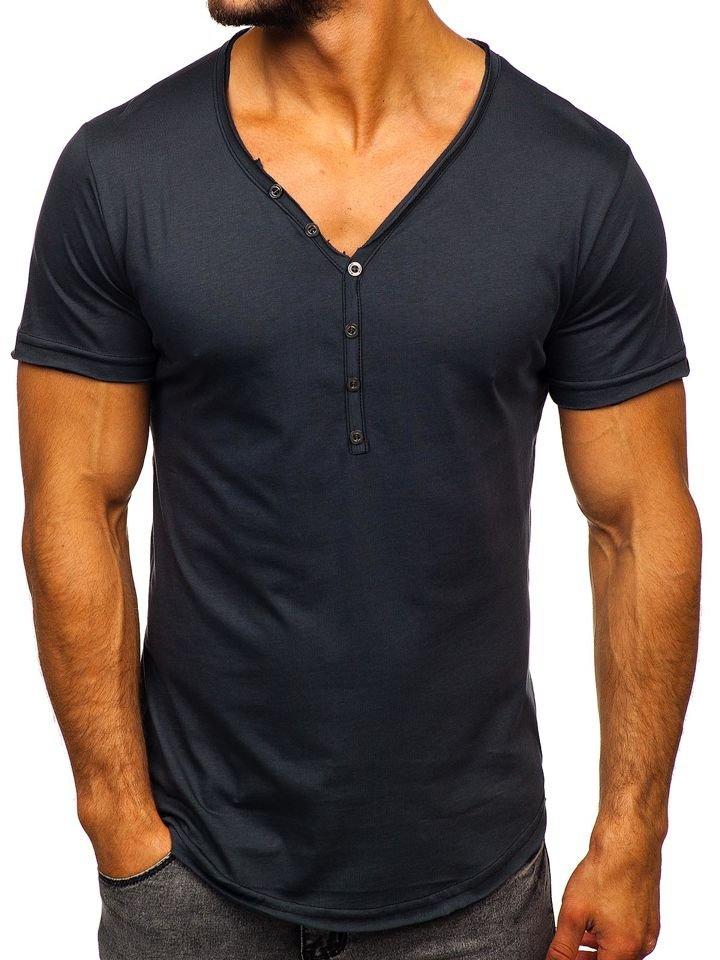 Grafitové pánske tričko bez potlače Bolf 4049
