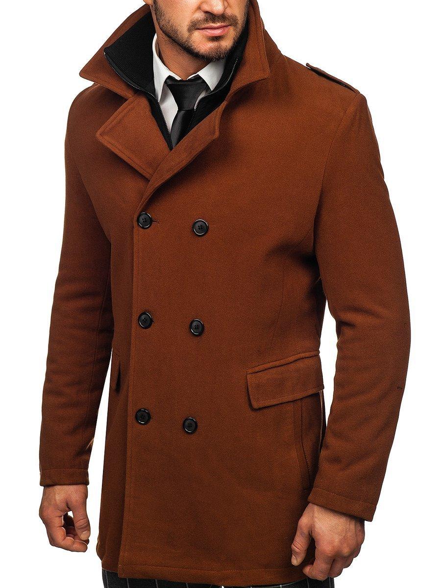 Hnedý pánsky zimný dvojradový kabát s odnímateľným golierom Bolf 8805