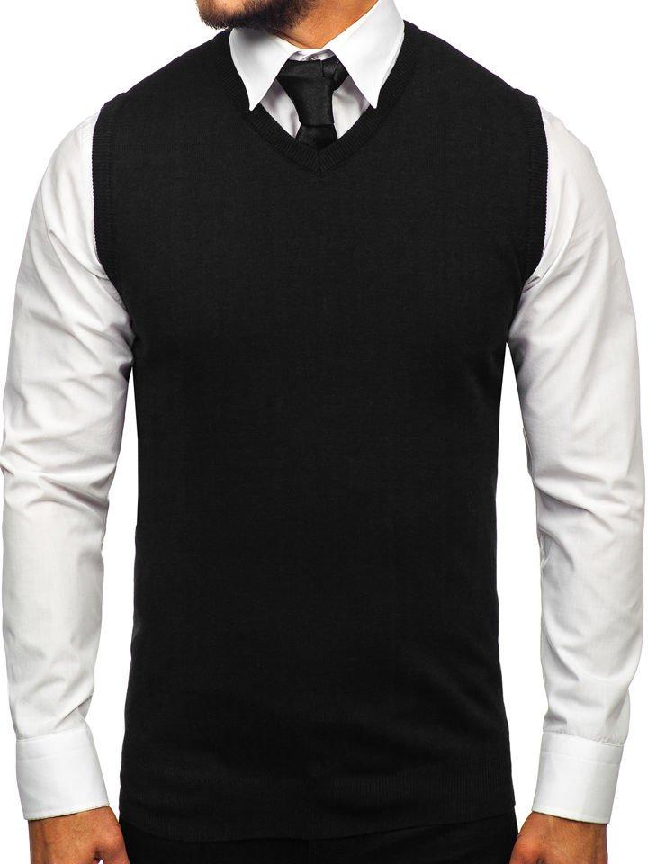 Čierna pánska pletená vesta Bolf 2500