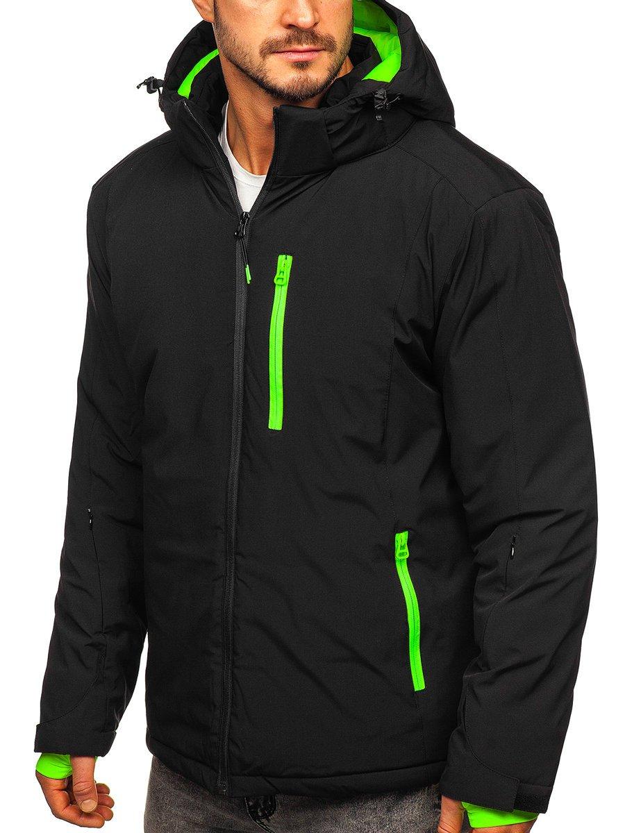 Čierna pánska športová lyžiarská zimná bunda Bolf HH011