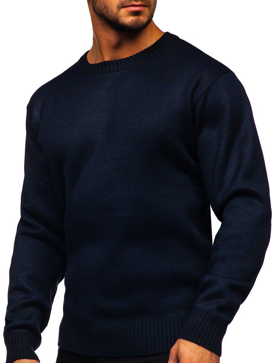 Tmavomodrý pánsky zateplený sveter Bolf 7M117