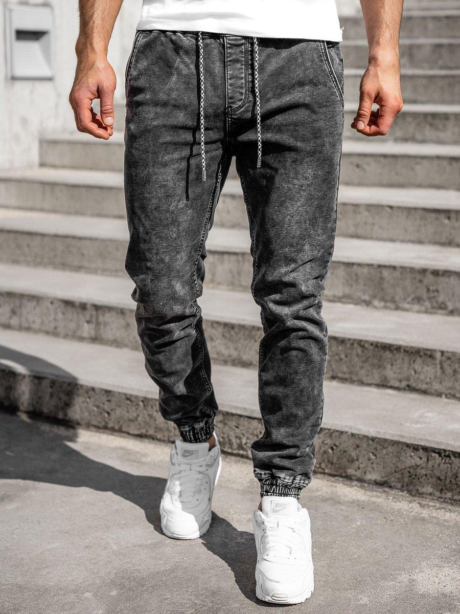 Čierne pánske riflové jogger nohavice Bolf KA2191