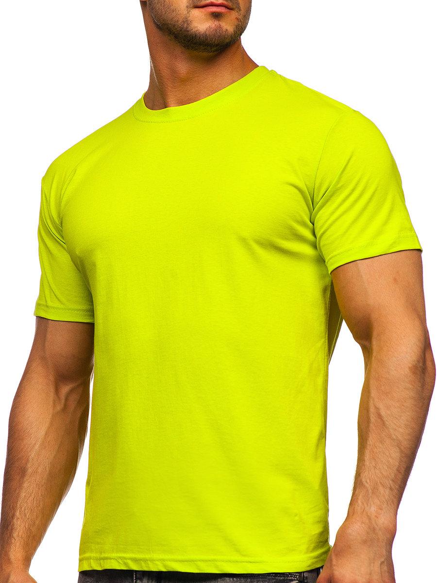 Žlté neónové pánske tričko bez potlače Bolf 192397