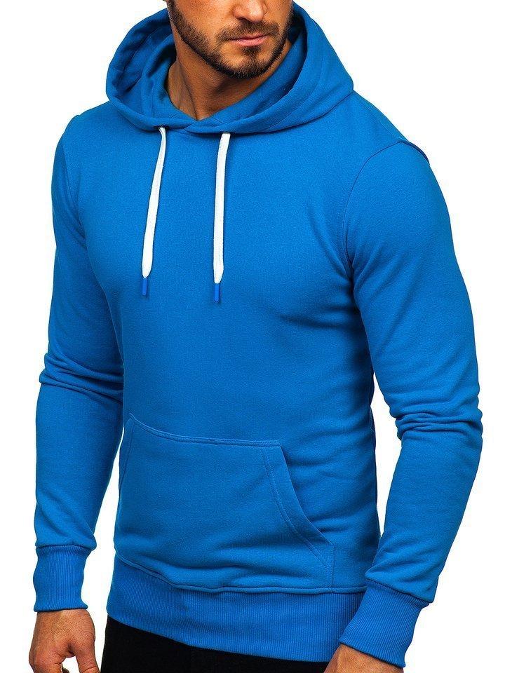 Modrá pánska mikina s kapucňou Bolf1004