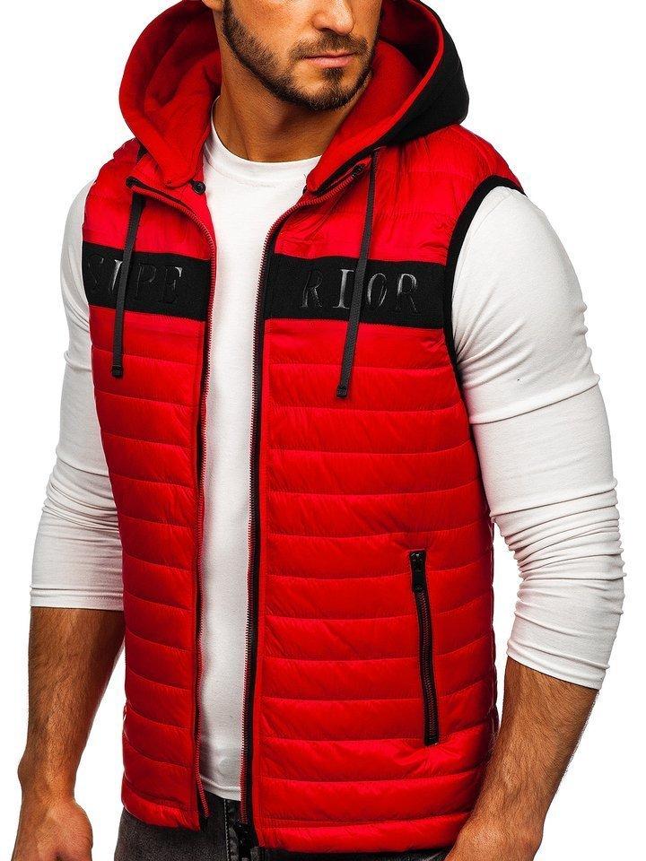 Červená pánska vesta s kapucňou Bolf 6101