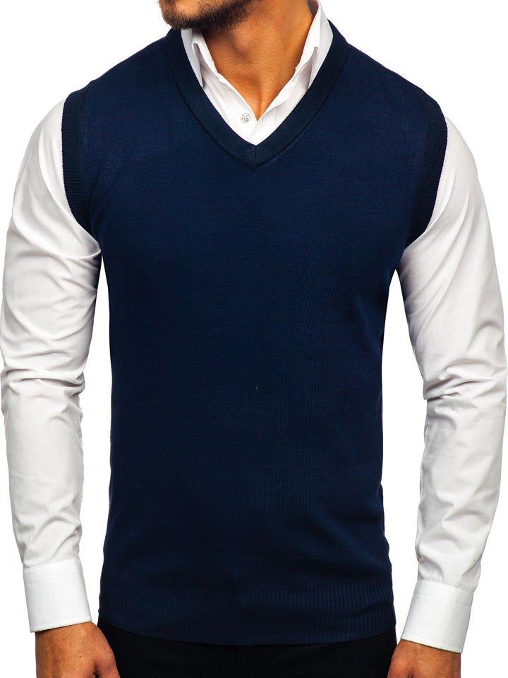 Tmavomodrá pánska pletená vesta Bolf W01