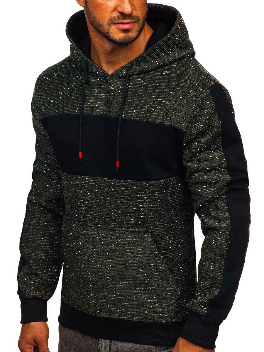 Khaki pánska mikina s kapucňou Bolf KS2230