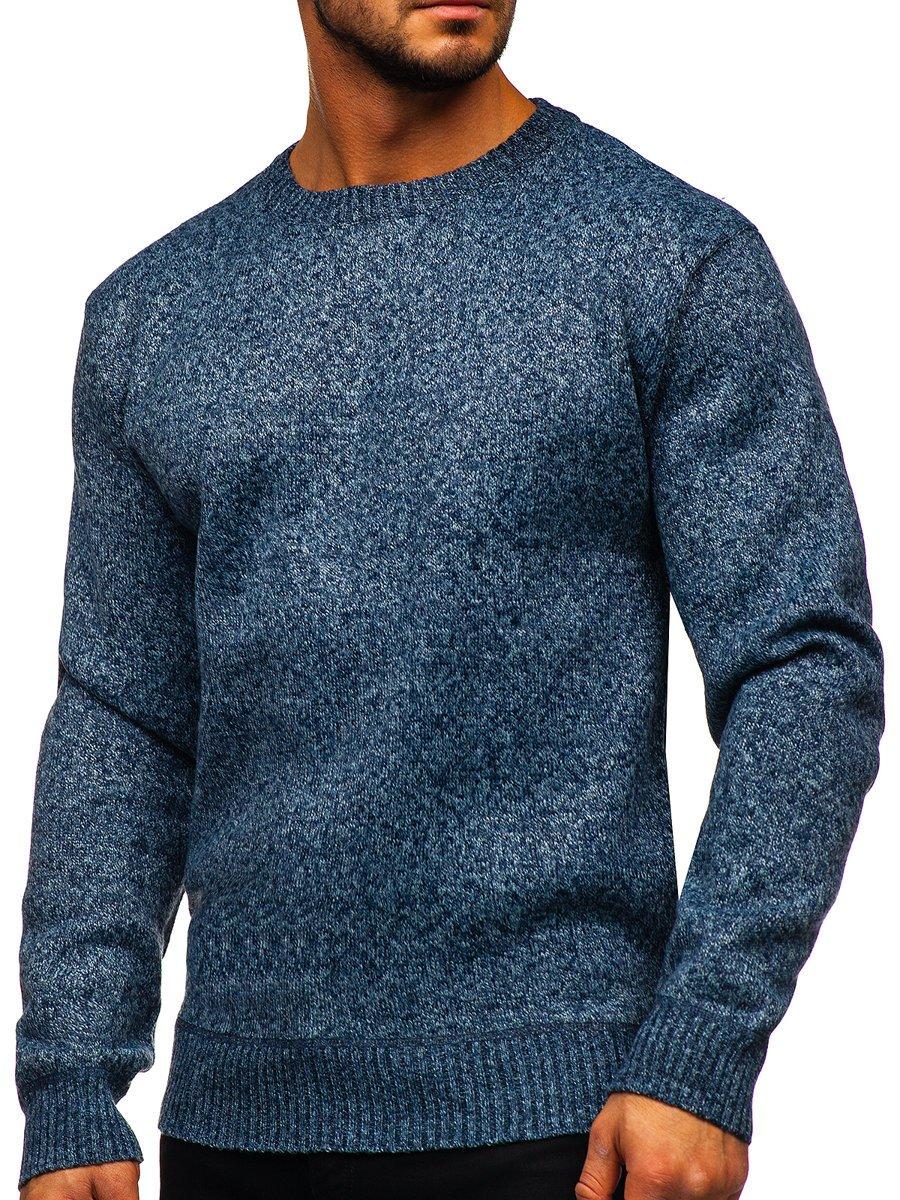 Modrý pánsky zateplený sveter Bolf 7M117