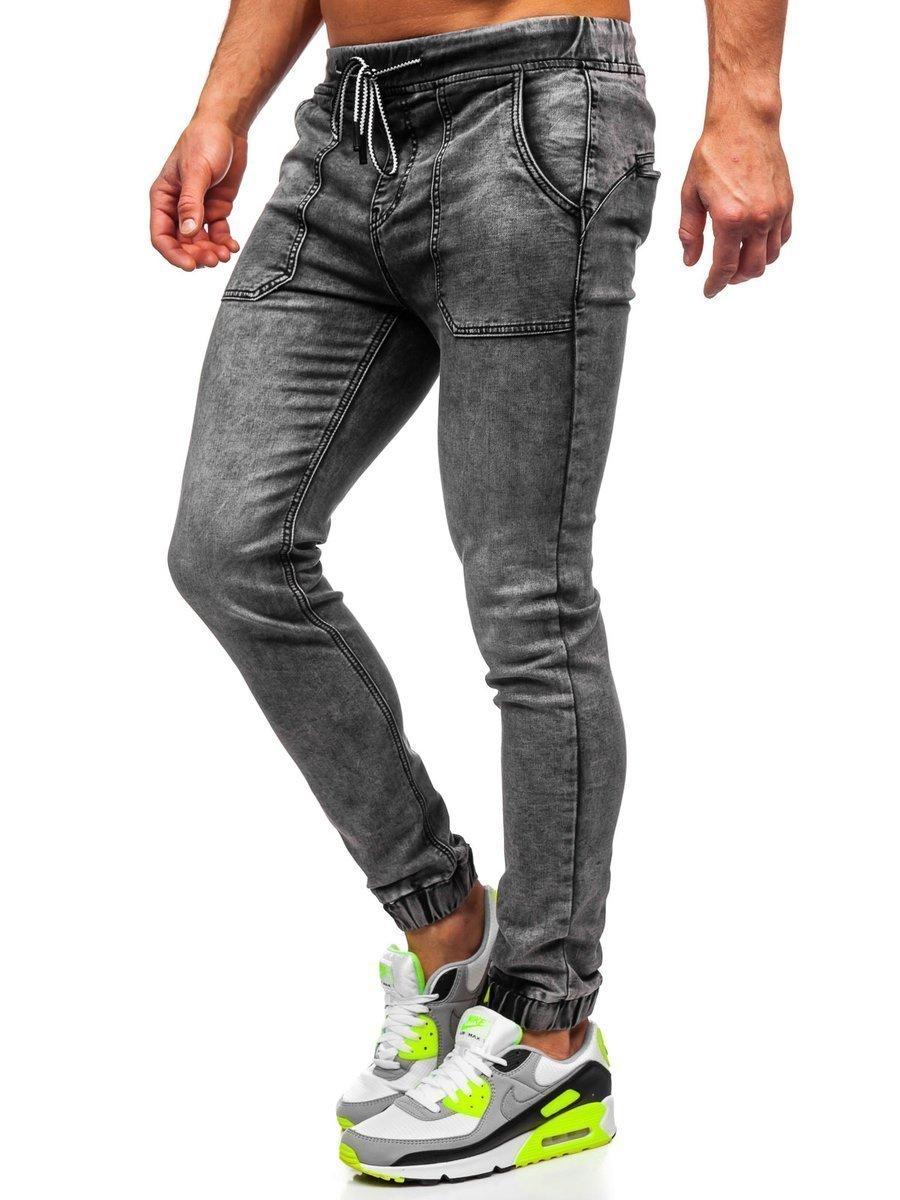 Čierne pánske riflové jogger nohavice Bolf KA1860
