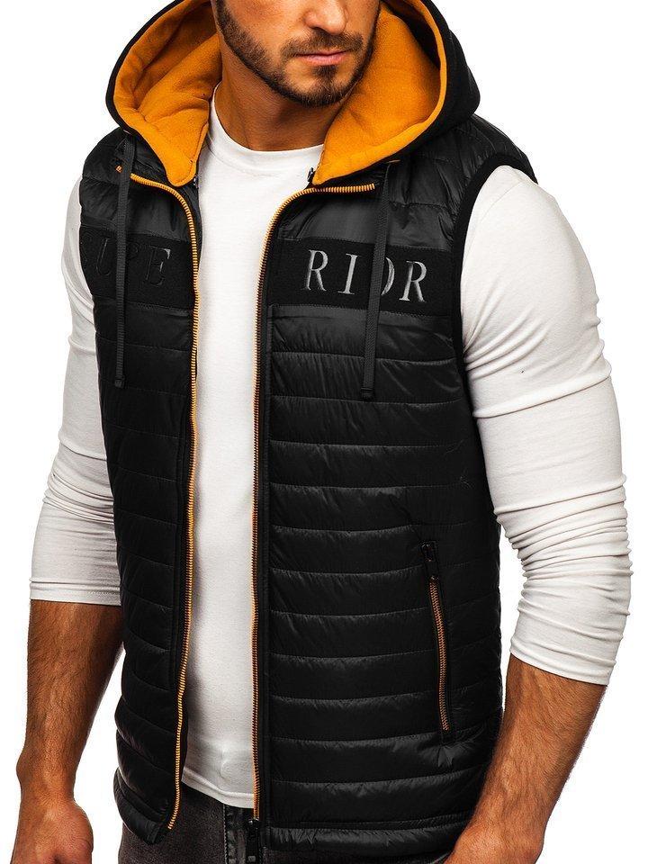 Čierna pánska vesta s kapucňou Bolf 6101