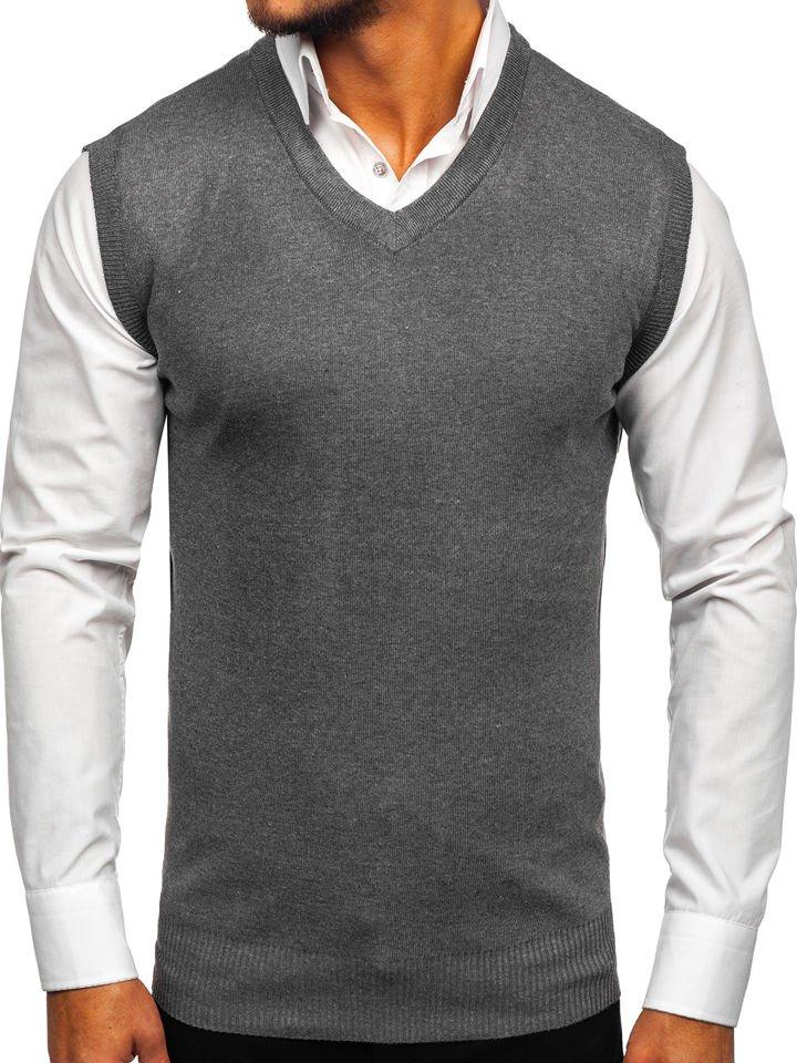 Grafitová pánska pletená vesta Bolf W01