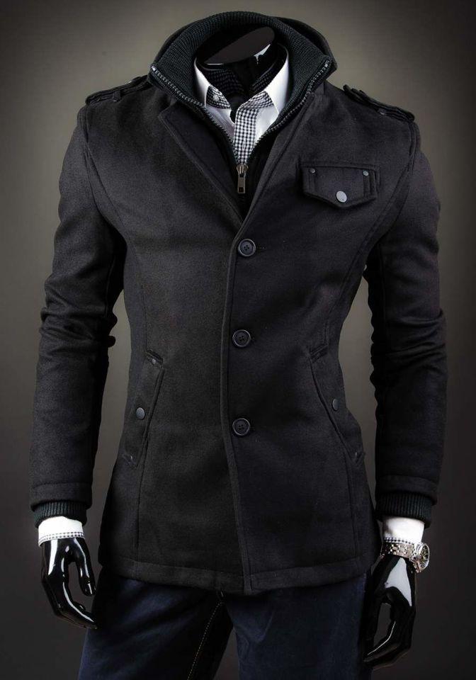 Čierny jednoradový pánsky kabát s vysokým golierom Bolf 8853D
