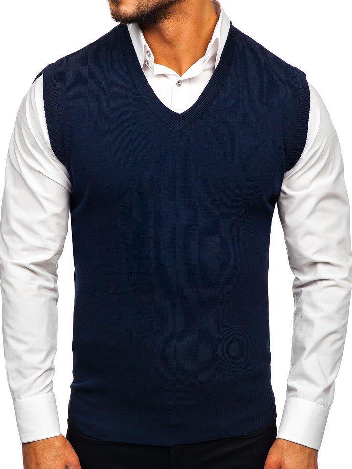 Tmavomodrá pánska pletená vesta Bolf H1950