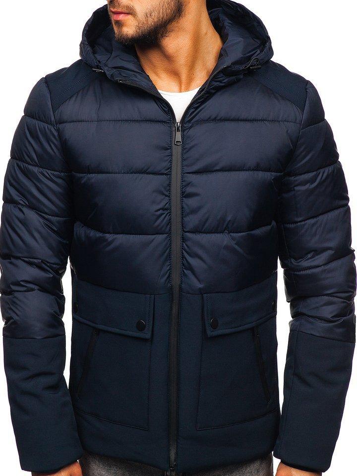 Tmavomodrá pánska zimná bunda Bolf B1280