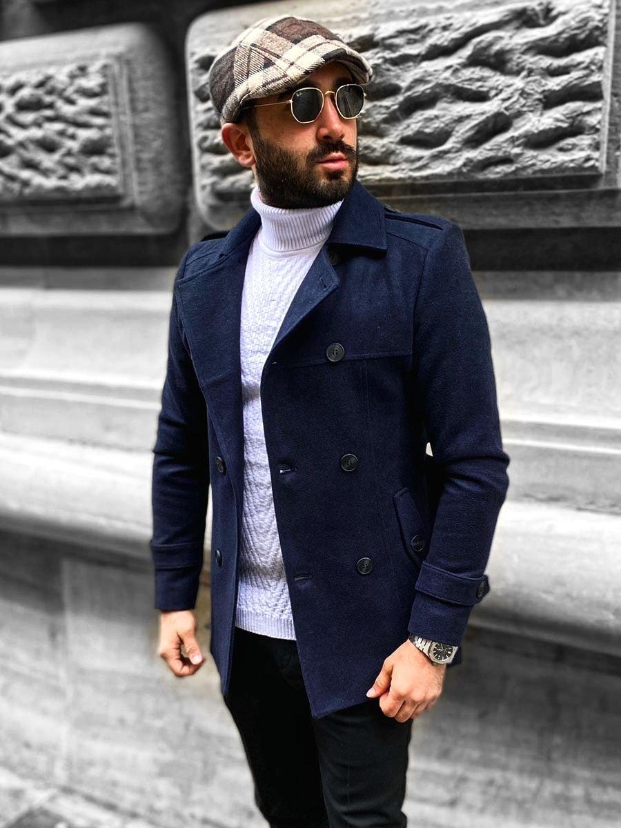 Tmavomodrý pánsky zimný dvojradový kabát s vysokým golierom a opaskom Bolf 0009