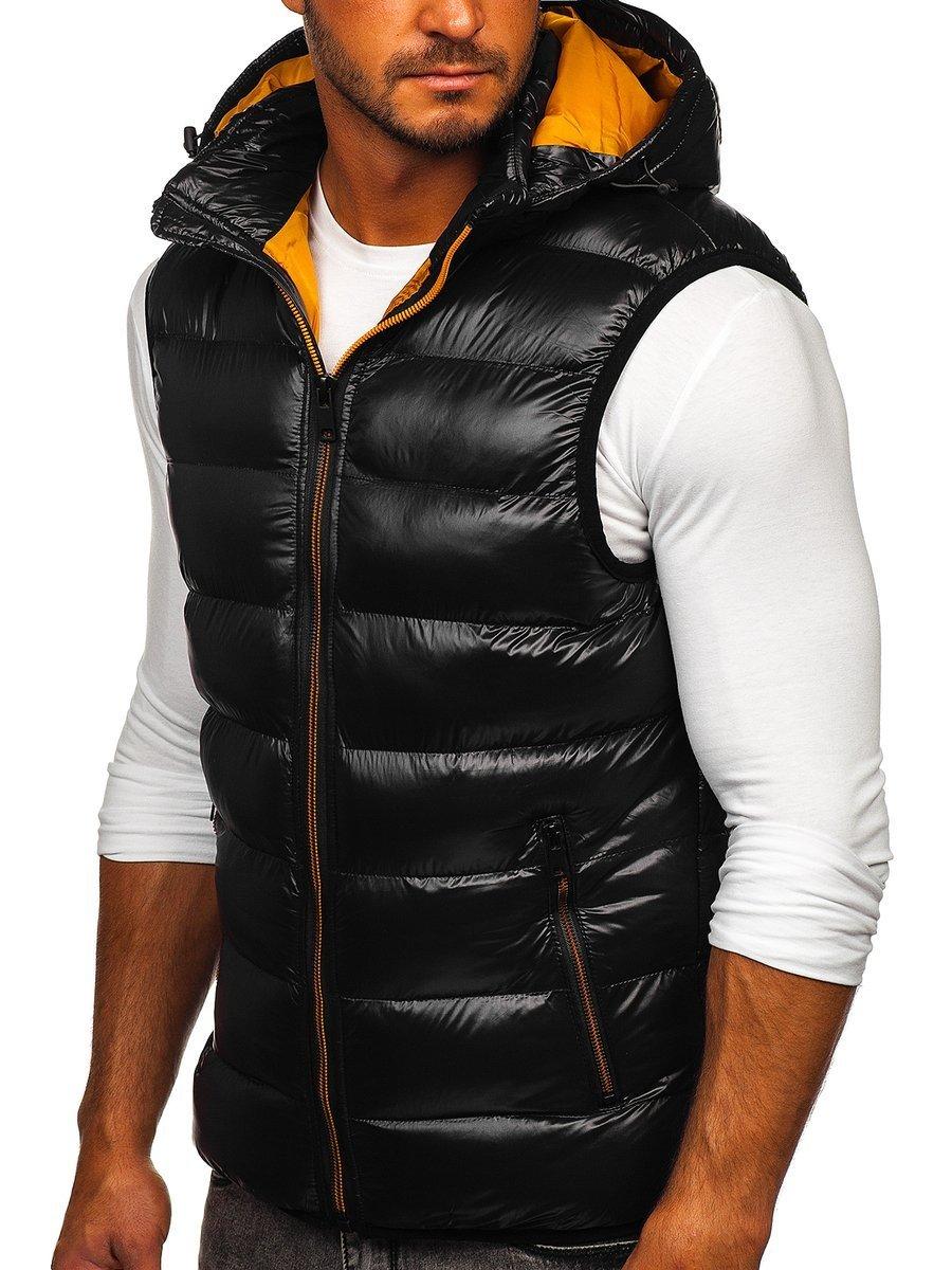 Čierna pánska prešívaná vesta s kapucňou Bolf6506