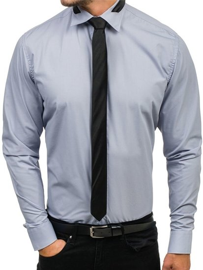 ca208f2021 Šedá pánska elegantná košeľa s dlhými rukávmi BOLF 4714-1