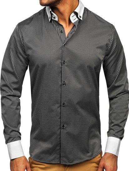 0477c28dc2 Čierna pánska elegantná prúžkovaná košeľa s dlhými rukávmi BOLF 0909-A