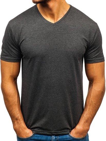 19ee9d8c0f56 Antracitové pánske tričko s výstrihom do V bez potlače BOLF 172010-A
