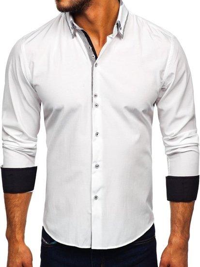 726691e428 Biela pánska elegantá košeľa s dlhými rukávmi BOLF 6929-A